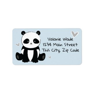 Sitting Panda with Hearts Blue Label