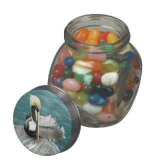 Sitting Pelican Glass Candy Jar