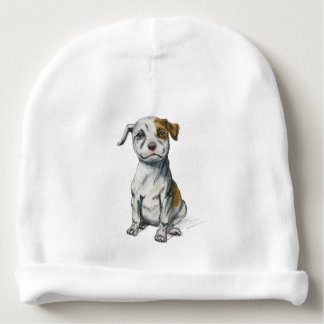 Sitting Pit Bull Puppy Drawing Baby Beanie