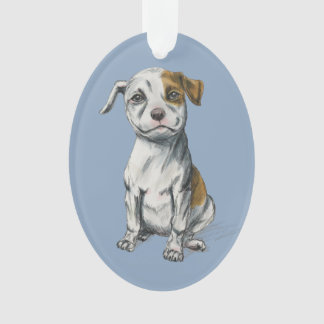 Sitting Pit Bull Puppy Drawing Ornament