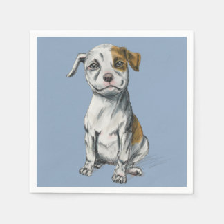 Sitting Pit Bull Puppy Drawing Paper Napkin
