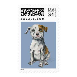 Sitting Pit Bull Puppy Drawing Postage