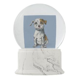 Sitting Pit Bull Puppy Drawing Snow Globe