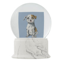 Sitting Pit Bull Puppy Illustration Snow Globe