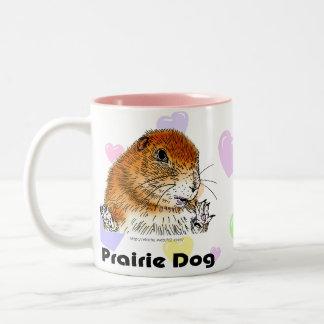 sitting prairie dog Two-Tone coffee mug