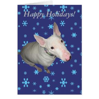 Sitting Pretty/Bull Terrier Holiday Card