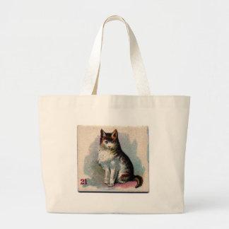 Sitting Pretty Cat Artwork Large Tote Bag