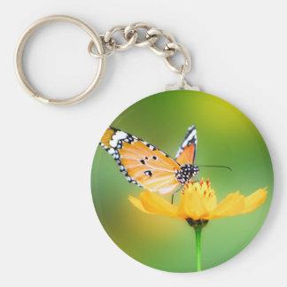 Sitting Pretty Little Butterfly on a Flower Basic Round Button Keychain