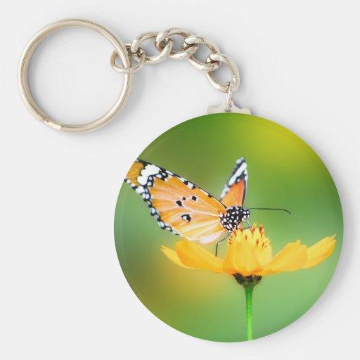 Sitting Pretty Little Butterfly on a Flower Key Chain