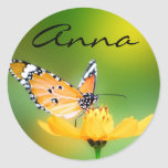 Sitting Pretty Little Butterfly on a Flower Classic Round Sticker