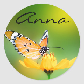 Sitting Pretty Little Butterfly on a Flower Round Stickers