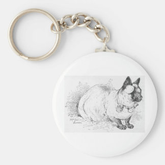 Sitting Pretty Siamese Cat Drawing Artwork Keychain