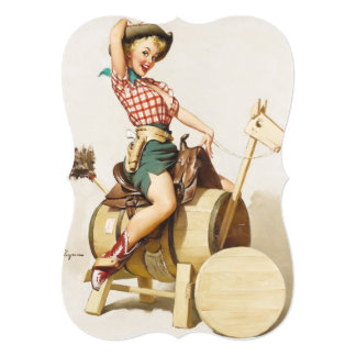 Sitting Pretty Western Pin Up Girl ~ Retro Art Card