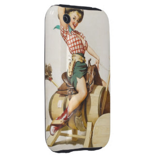 Sitting Pretty Western Pin Up Girl ~ Retro Art iPhone 3 Tough Cases