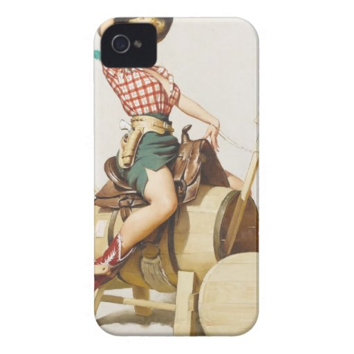 Sitting Pretty Western Pin Up Girl ~ Retro Art iPhone 4 Cases