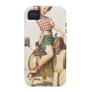 Sitting Pretty Western Pin Up Girl Retro Art Case-Mate iPhone 4 Case