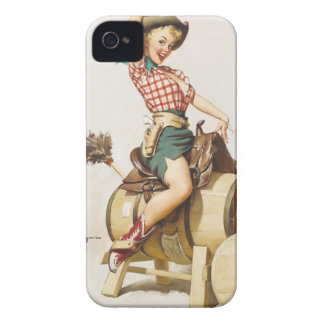Sitting Pretty Western Pin Up Girl Retro Art iPhone 4 Cover