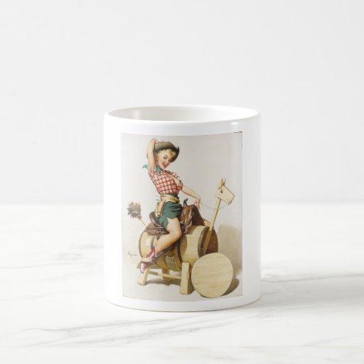 Sitting Pretty Western Pin Up Girl ~ Retro Art Coffee Mug