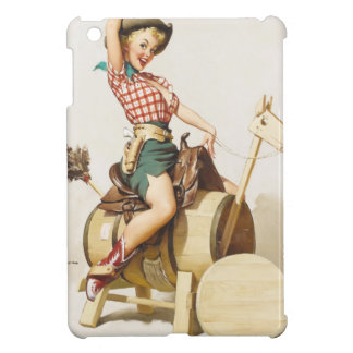 Sitting Pretty Western Pin Up Girl ~ Retro Art iPad Mini Cover