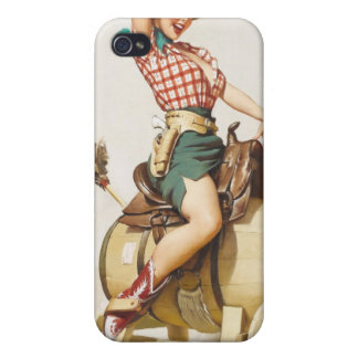 Sitting Pretty Western Pin Up Girl Retro Art iPhone 4 Covers