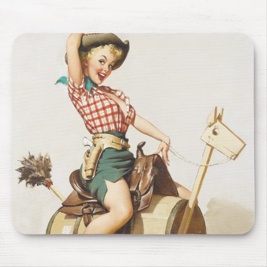 Sitting Pretty Western Pin Up Girl ~ Retro Art Mouse Pad