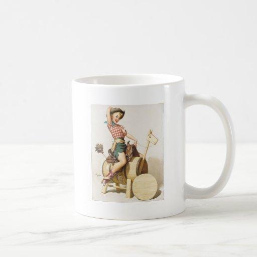 Sitting Pretty Western Pin Up Girl ~ Retro Art Mug