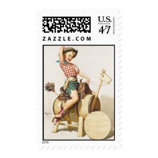 Sitting Pretty Western Pin Up Girl ~ Retro Art Postage