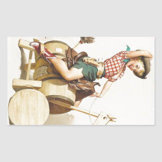 Sitting Pretty Western Pin Up Girl ~ Retro Art Rectangular Sticker