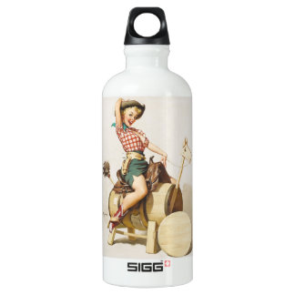 Sitting Pretty Western Pin Up Girl ~ Retro Art SIGG Traveler 0.6L Water Bottle