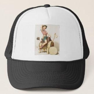 Sitting Pretty Western Pin Up Girl ~ Retro Art Trucker Hat