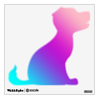 Sitting Puppy Decals  - Blues, Purples, Pinks Wall Stickers
