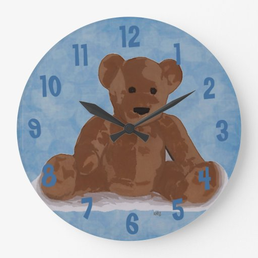 Sitting Teddy Bear (blue background) Round Clock