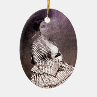 Sitting Victorian Woman Ceramic Ornament