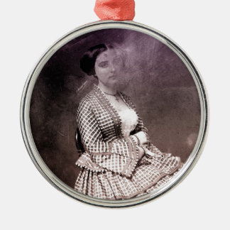 Sitting Victorian Woman Metal Ornament
