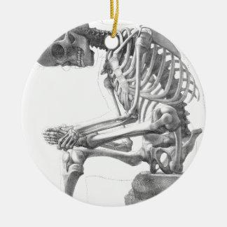 Sitting vintage skeleton thinking ceramic ornament