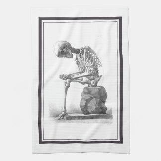 Sitting vintage skeleton thinking hand towel