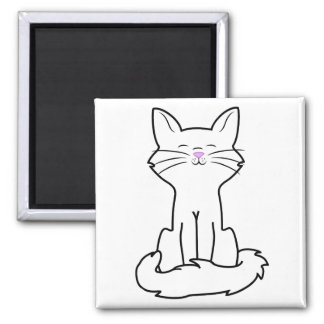 Sitting White Cat 2 Inch Square Magnet