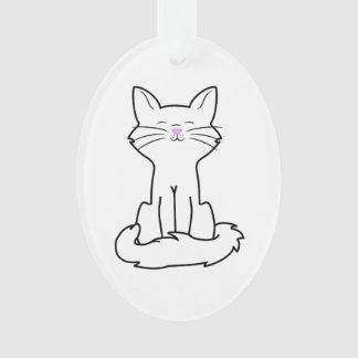 Sitting White Cat Ornament