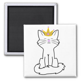 Sitting White Cat with Gold Crown 2 Inch Square Magnet