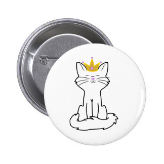 Sitting White Cat with Gold Crown 2 Inch Round Button