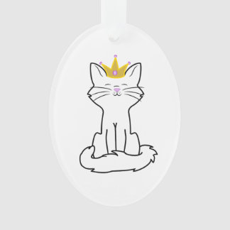 Sitting White Cat with Gold Crown Ornament