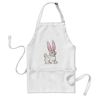 Sitting White Rabbit Adult Apron
