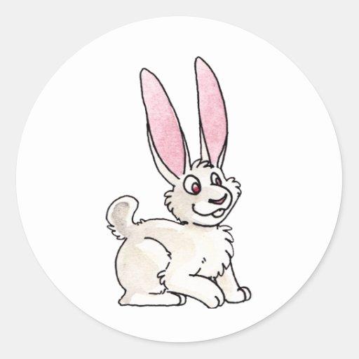 Sitting White Rabbit Classic Round Sticker