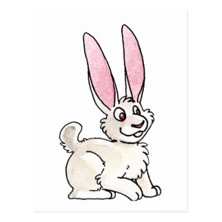 Sitting White Rabbit Postcard