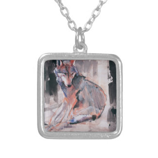 Sitting Wolf 2000 Silver Plated Necklace