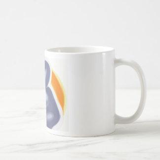 Sitting woman and sun mug