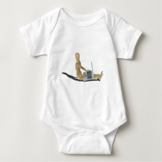 SittingOnFloorWithLaptop012915 Baby Bodysuit