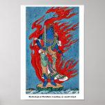 Situación budista mitológica en la pequeña isla posters