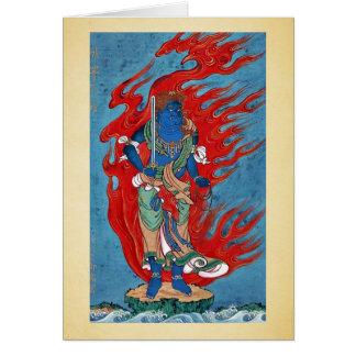 Situación budista mitológica en la pequeña isla felicitación