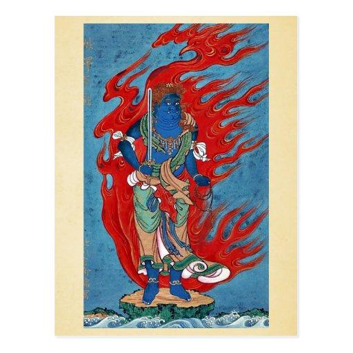 Situación budista mitológica en la pequeña isla tarjeta postal